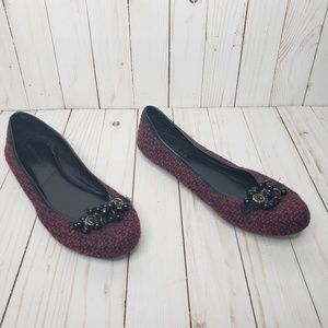 Banana Republic Burgundy Tweed Flats